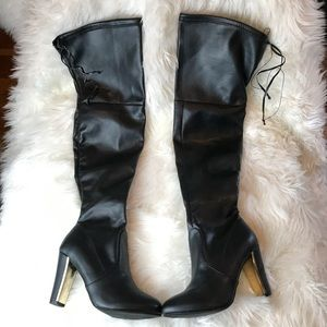 Over the Knee zipper & lace up heeled boots F Leat
